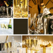 Collage of champagne images for New Years — Stockfoto #3277901