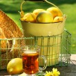 Foto de Stock  : Early morning lemon tea in the garden