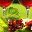 Glasses of  red wine on a table - Stock Photo