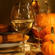 Wine at Thanksgiving - Stock Photo