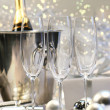 Three empty champagne glasses - Stockfoto