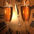 Stock Photo: Champagne glasses ready to bring in New Year