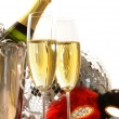 Royalty-Free Stock Photo: Masquerade Mask and champagne glasses on white