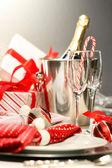 Christmas champagne — Stok fotoğraf