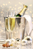 Silver champagne party — Stock Photo