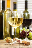 Glasses of wine with bottles — Stock Photo