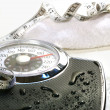 Weight scale and towel - Stock Photo