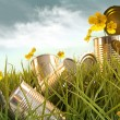 Stockfoto: Discarded aluminium cans in tall grass