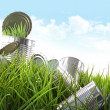 Empty food cans in grass with blue sky — Stok fotoğraf