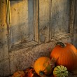 Pumpkins, broom and gourds at the door — Stockfoto