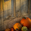 Pumpkins, broom and gourds at the door — Stok fotoğraf