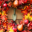 Festive autumn wreath - Stock Photo