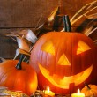 Foto Stock: Funny faced pumpkin