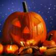 Royalty-Free Stock Photo: Halloween pumpkin against a starry night