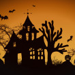 Haunted halloween house - Stock Photo