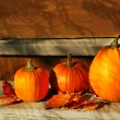 Pumpkins on the stairs — Stock Photo