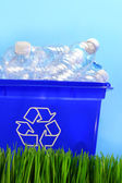 Bottles in recycling container bin — Stock Photo