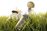 Forgotten empty cans and bottles in grass — Stock Photo