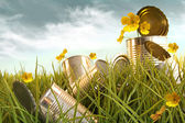 Discarded aluminium cans in tall grass — Stock Photo