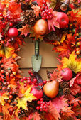 Festive autumn wreath — Stock Photo