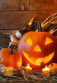Funny faced pumpkin — Foto de Stock