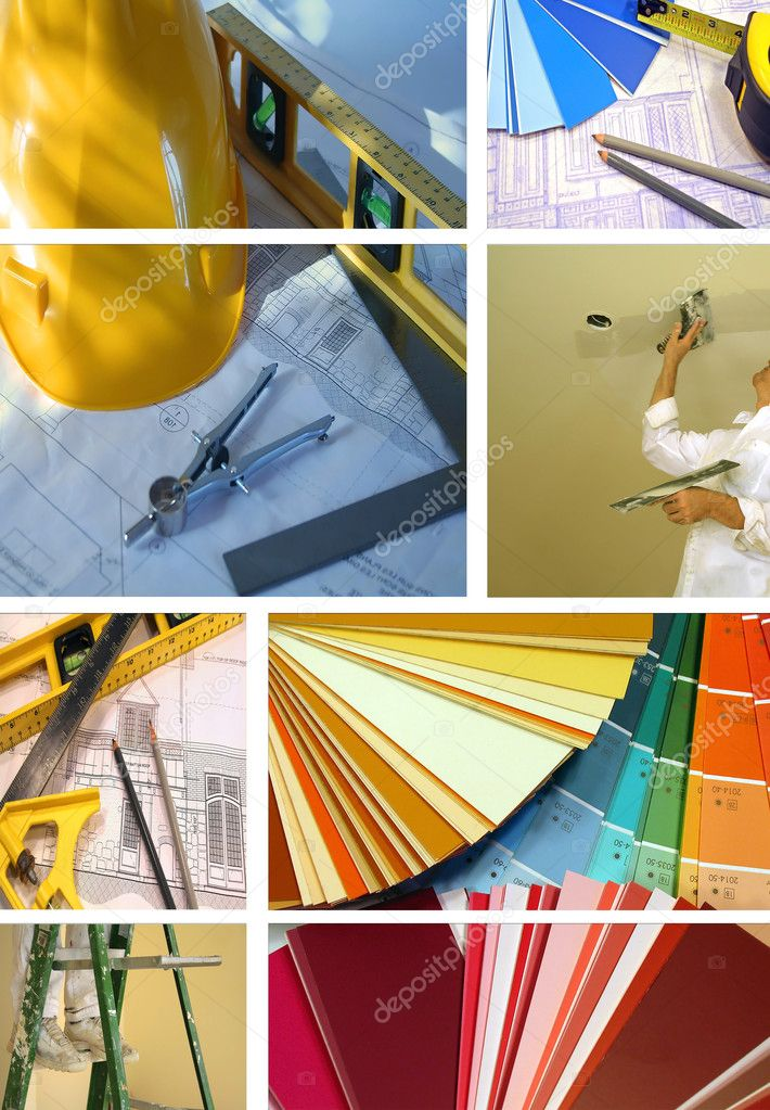 Collage of various photos for construction and home improvement  Foto Stock #3286286