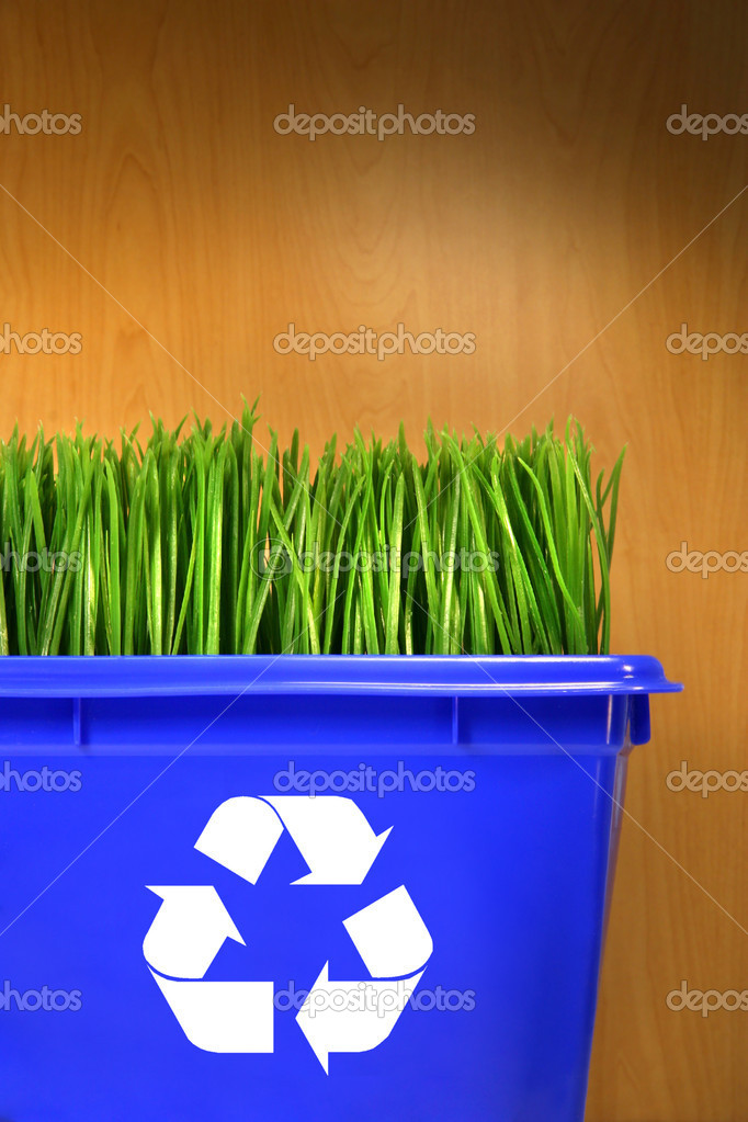 Blue recycle bin with grass inside against wood background  Stock Photo #3286303