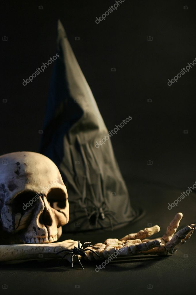 Halloween hat and skull  Stock Photo #3286481