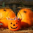 Bucket filled with halloween candy — Stockfoto