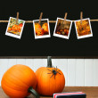 Pumpkins on school desk  in classroom - Stockfoto