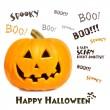 Pumpkin with halloween phrases on white — Stock Photo