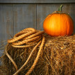 Pumpkin on a bale of hay — Stock Photo