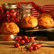 Delicious cranberry muffins — Stock Photo
