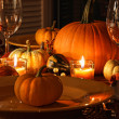 Festive autumn place settings with pumpkins - Stock Photo