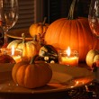 Festive autumn place settings with pumpkins - Foto Stock