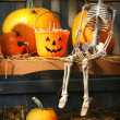 Foto Stock: Colorful pumpkins and skeleton on bench