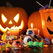Closeup of candies with pumpkins — Foto Stock