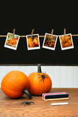 Pumpkins on school desk in classroom — Stok fotoğraf