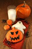 Halloween cookies with milk — Foto de Stock