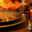 Detail place setting for aThanksgiving table - Stock Photo