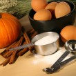 Assorted ingredients for baking in the kitchen - Stock Photo