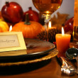 Thanksgiving place setting - Stock Photo