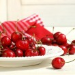 Stock Photo: Red cherries on a plate