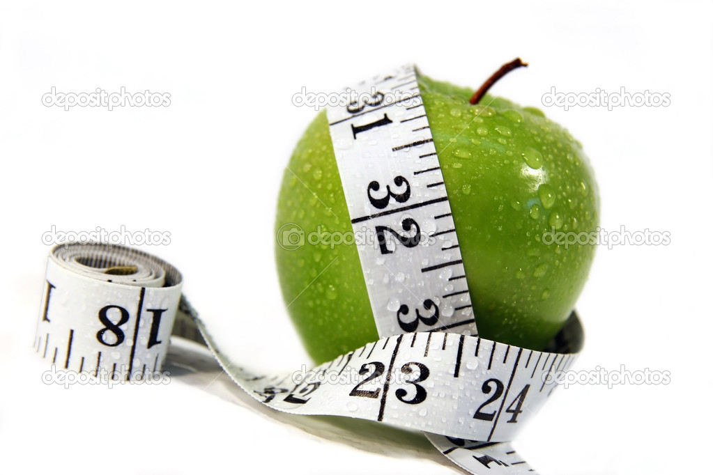 Measurement tape wrapped around green apple/Concept for health and diet  — Stock Photo #3300003