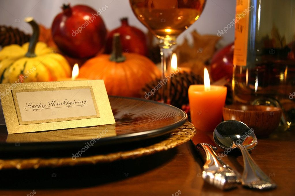 Place seeting ready for Thanksgiving — Stok fotoğraf #3300100