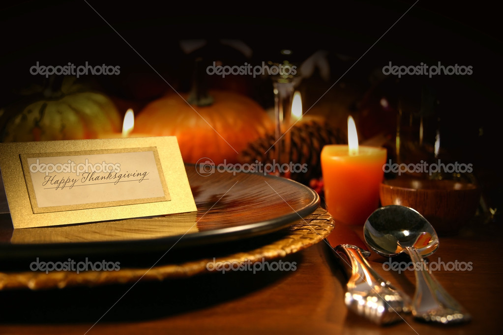 Table setting ready for Thanksgiving  Stock Photo #3300102