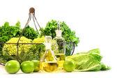 Garden fresh veggies with limes — Stock Photo