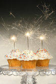 Cupcakes with sparklers — Stock Photo
