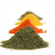 Various kinds of spices on white - Foto de Stock