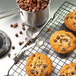 Freshly baked chocolate chip cookies - Stock Photo